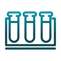 test tube in rack chemical laboratory science and research gradient style icon vector