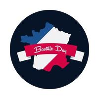 Bastille day ribbon with france map block and flat style icon vector design