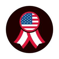 4th of july independence day rosette american flag national symbol block and flat style icon vector