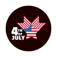 4th of july independence day american flag star country celebration block and flat style icon vector