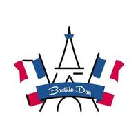 Bastille day eiffel tower with flags line and fill style icon vector design