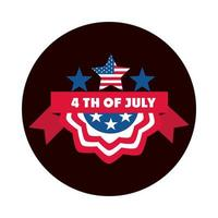 4th of july independence day american flag stars ribbon label block and flat style icon vector