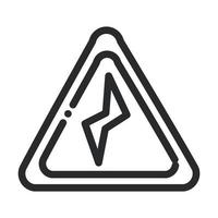 power danger sign laboratory science and research line style icon vector