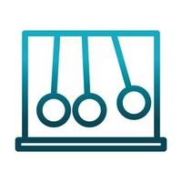 newtons cradle silver balls science and research gradient style icon vector