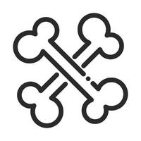human crossed bones laboratory science and research line style icon vector