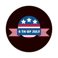 4th of july independence day american democracy celebration badge block and flat style icon vector