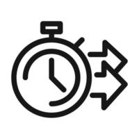 delivery cargo service logistic stopwatch time fast line style icon vector
