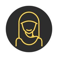 muslim woman with hijab character block and line icon vector