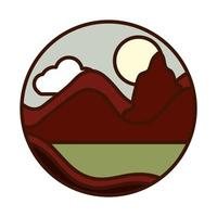 landscape nature mountains field sun line and fill icon vector