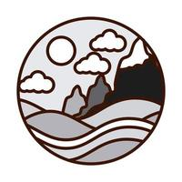 landscape nature hills mountain snow falling winter line and fill icon vector