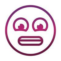 angustiado gracioso emoticon emoticon expresión de la cara icono de estilo degradado vector