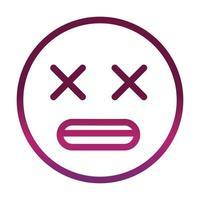 dizzy face funny smiley emoticon expression gradient style icon vector