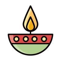 burning candle religious eid mubarak islamic religious celebration line and fill icon vector