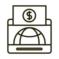 mobile world money banknote business financial investing line style icon vector