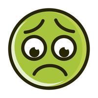 Línea de expresión de cara de emoticon sonriente divertido preocupado e icono de relleno vector