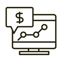 computer report money growing business financial investing line style icon vector