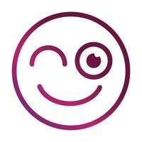 guiño gracioso smiley emoticon cara expresión gradiente estilo icono vector
