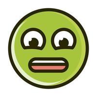 angustiado, divertido, emoticon, cara, expresión, línea, y, relleno, icono vector