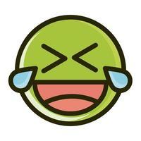 reír, lágrimas, divertido, smiley, emoticon, cara, expresión, línea, y, llenar, icono vector