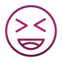 laugh close eyes funny smiley emoticon face expression gradient style icon vector