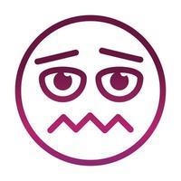 asustado, divertido, emoticon, cara, expresión, gradiente, estilo, icono vector