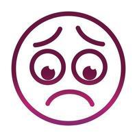 icono de estilo degradado de expresión de cara de emoticon sonriente divertido preocupado vector