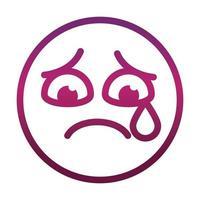 lágrima triste emoticon sonriente gracioso expresión de la cara icono de estilo degradado vector