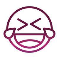 reír lágrimas gracioso smiley emoticon expresión de la cara icono de estilo degradado vector