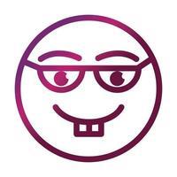 nerd funny smiley emoticon face expression gradient style icon vector