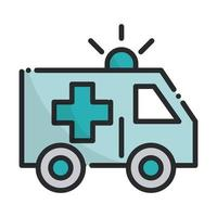ambulance transport emergency health care equipment medical line and fill icon vector