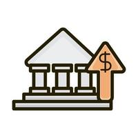 bank growing arrow business financial investing line and fill icon vector