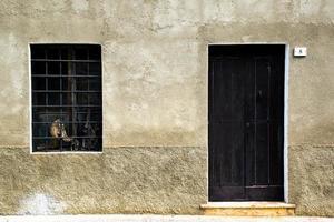 Wooden door with a window photo