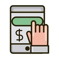 smartphone touching search money business financial investing line and fill icon vector