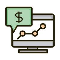 computer report money growing business financial investing line and fill icon vector