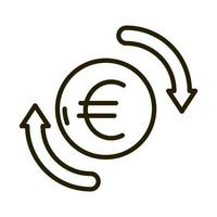 euro money exchange business financial investing line style icon vector