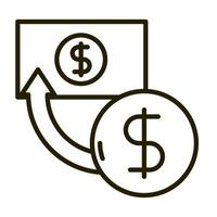 banknote coin transaction business financial investing line style icon vector