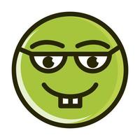 nerd funny smiley emoticon face expression line and fill icon vector