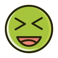 laugh close eyes funny smiley emoticon face expression line and fill icon vector