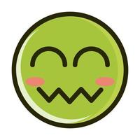 blush close eyes funny smiley emoticon face expression line and fill icon vector