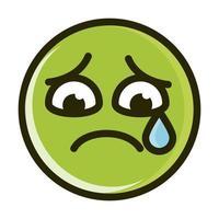 triste, lágrima, divertido, smiley, emoticon, cara, expresión, línea, e vector