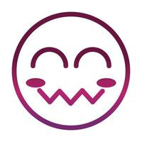 blush close eyes funny smiley emoticon face expression gradient style icon vector