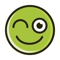 guiño, divertido, smiley, emoticon, cara, expresión, línea, y, relleno, icono vector