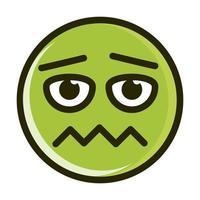 Línea de expresión de cara de emoticon sonriente divertido asustado e icono de relleno vector