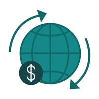 banca móvil alrededor del icono de estilo plano de finanzas de intercambio mundial vector