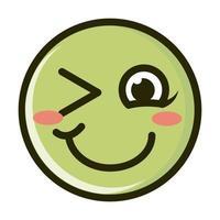 rubor guiño divertido smiley emoticon cara expresión línea e icono de relleno vector