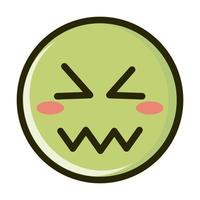 confounded funny smiley emoticon face expression line and fill icon vector