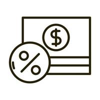 stacked of banknote money business financial investing line style icon vector