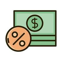 stacked of banknote money business financial investing line and fill icon vector