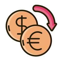 dólar y euro, comercio, inversión financiera, línea, y, relleno, icono vector