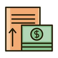 money banknote increase report business financial investing line and fill icon vector